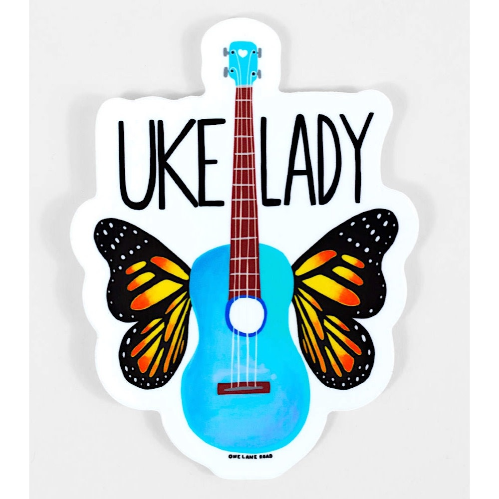 One Lane Road Uke Lady Sticker