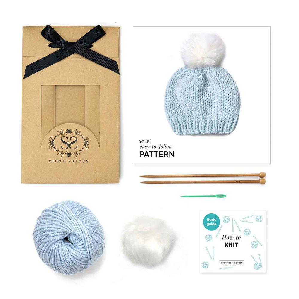Stitch & Story Baby Fur Pom Hat - Baby Blue/White Pom
