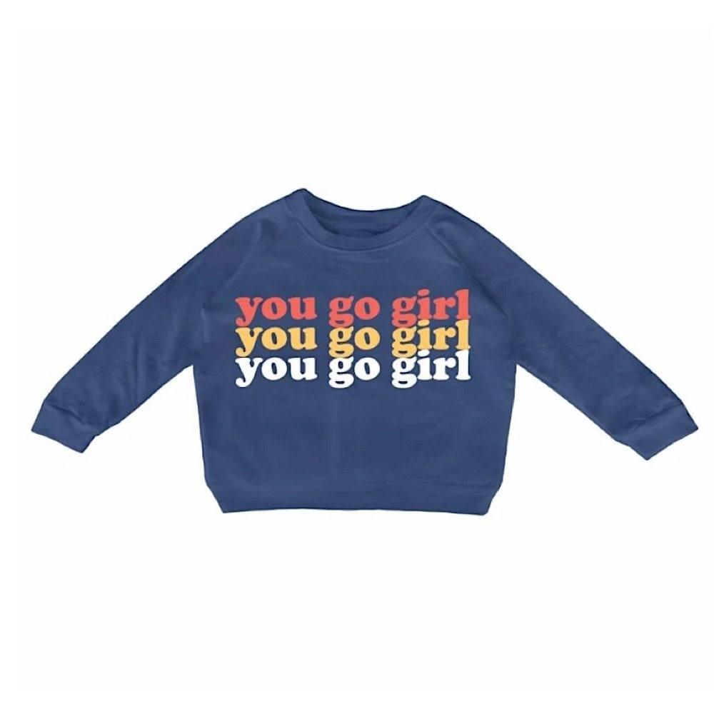 Tiny Whales You Go Girl Boxy Sweatshirt - Navy