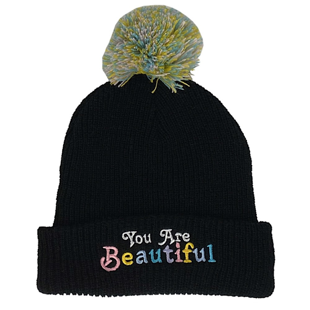 Tiny Whales You Are Beautiful Beanie - Black