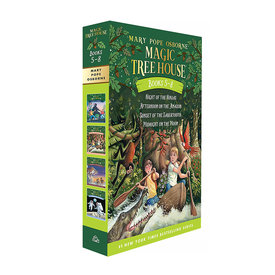 Random House Magic Tree House Boxed Set, Books 5-8: Night of the Ninjas, Afternoon on the Amazon, Sunset of the Sabertooth, and Midnight on the Moon