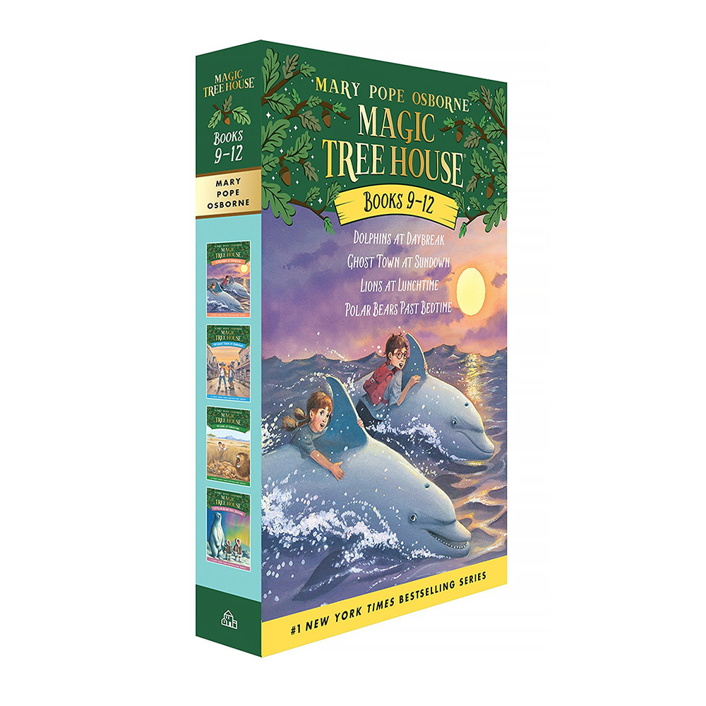 Random House Magic Tree House Boxed Set, Books 9-12: Dolphins at Daybreak, Ghost Town at Sundown, Lions at Lunchtime, and Polar Bears Past Bedtime