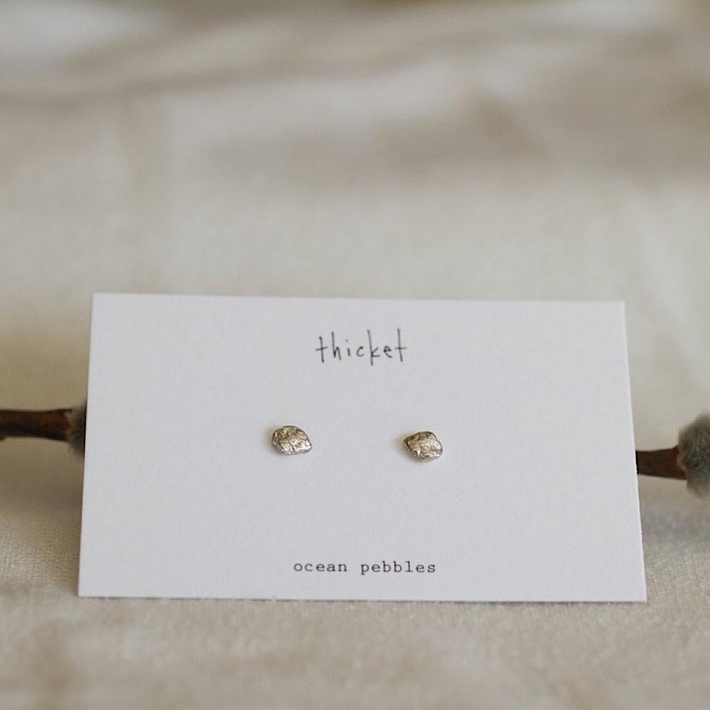Thicket Sterling Silver Earrings - Ocean Pebbles