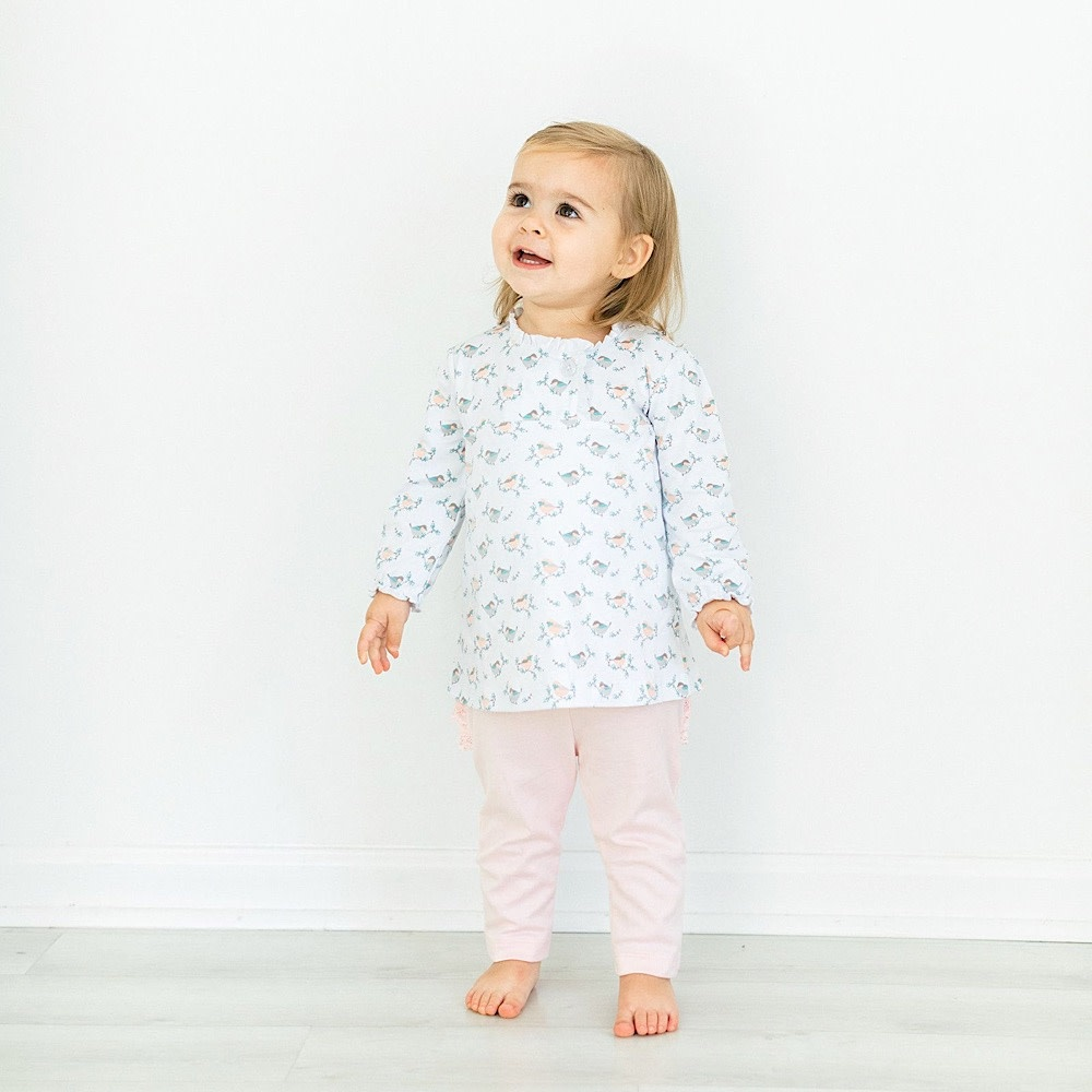 Feather Baby Crossover Twosie Set - Oriole on White