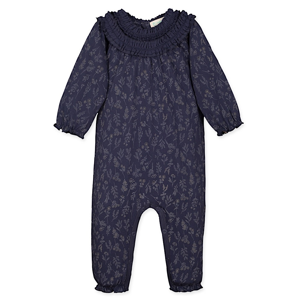 Feather Baby Double Ruffle Cover All - Evelyn Floral on Indigo