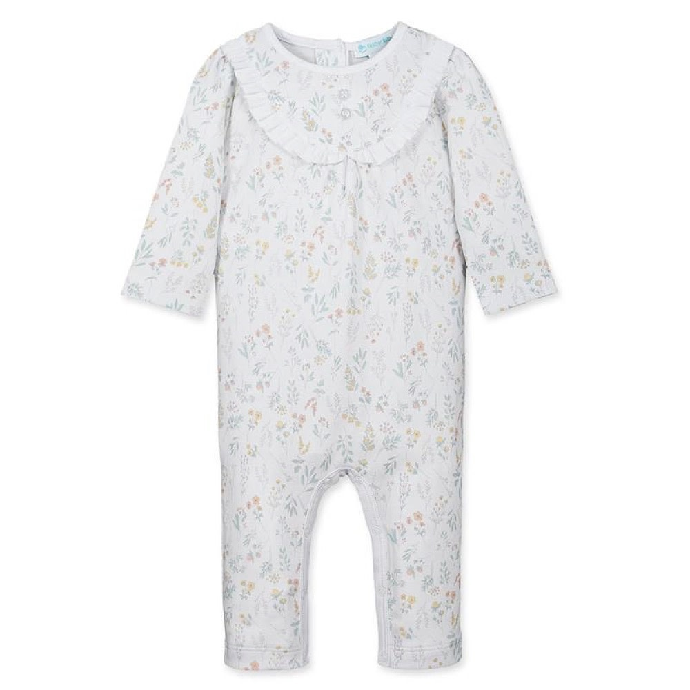 Feather Baby Ruffle Yoke Romper - Evelyn Floral on White