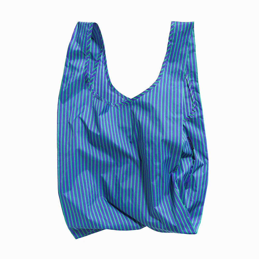 Standard Baggu - Cobalt and Jade Stripe