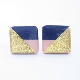 Clay N Wire Clay N Wire Stud Earrings - Navy and Blush Square