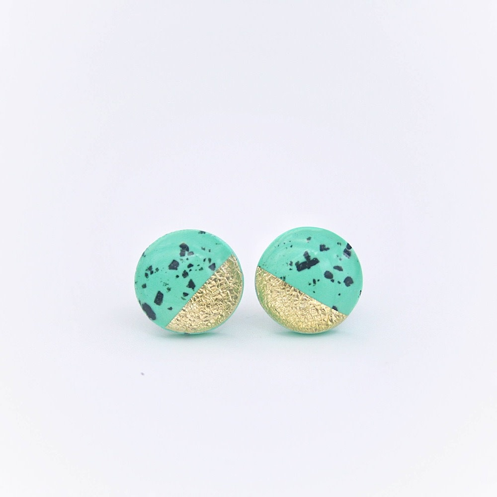 Clay N Wire Clay N Wire Stud Earrings - Flecked Green
