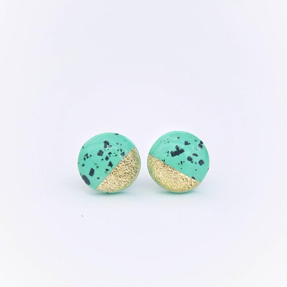 Clay N Wire Stud Earrings - Flecked Green