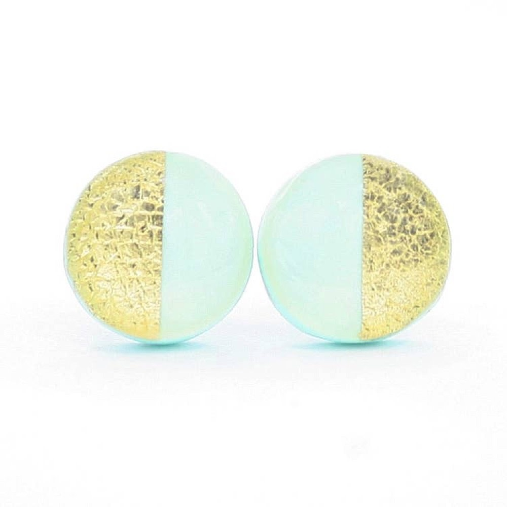 Clay N Wire Clay N Wire Stud Earrings - Mint and Gold Split