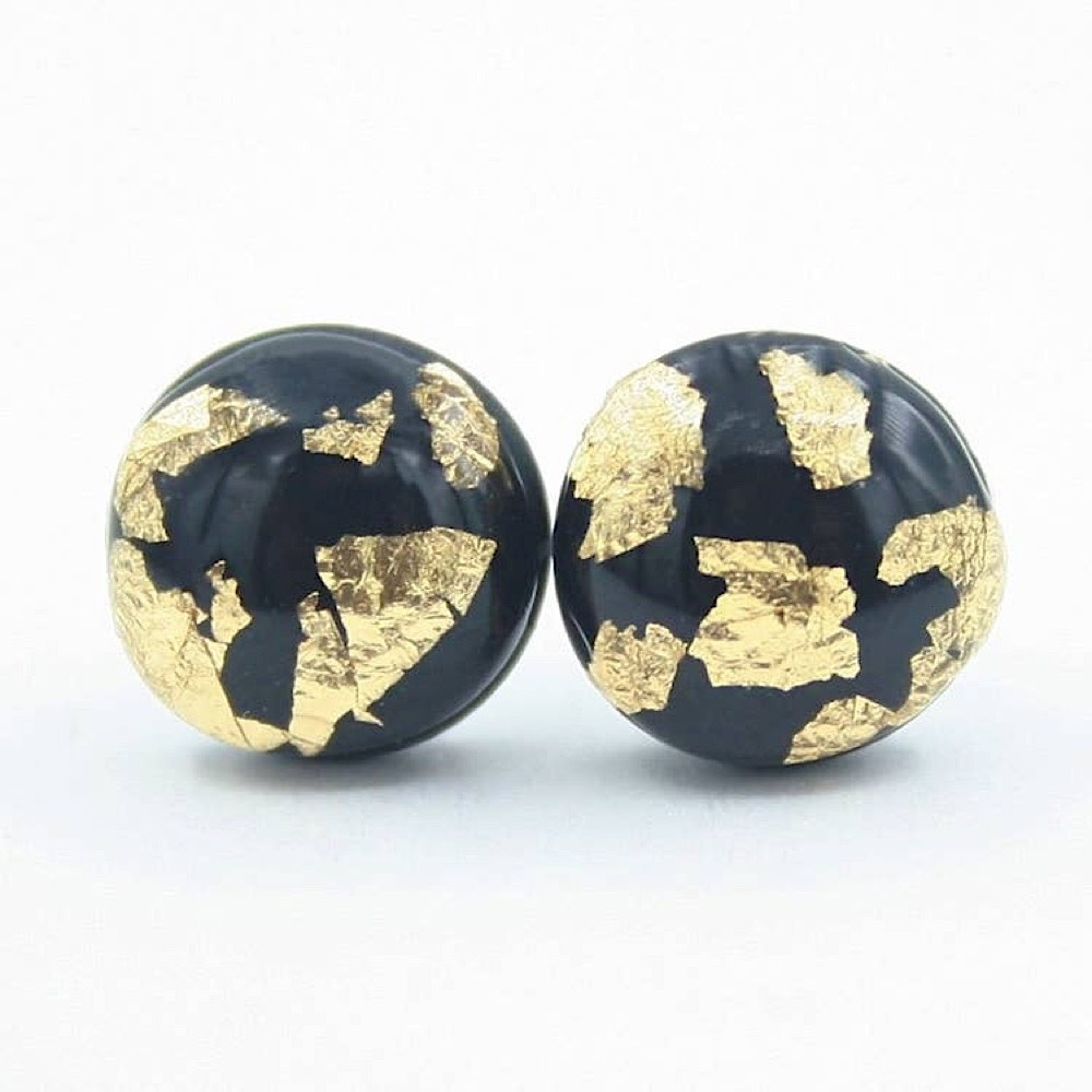 Clay N Wire Stud Earrings - Dainty Black Gold Flake