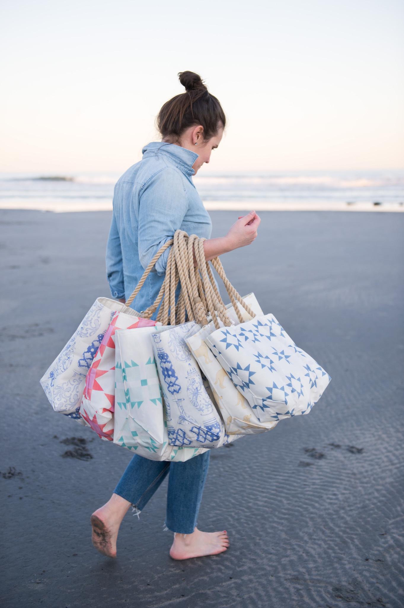 Sea Bags Sara Fitz - Blue Quilt - Small Handbag Tote - Hemp Handle with Clasp