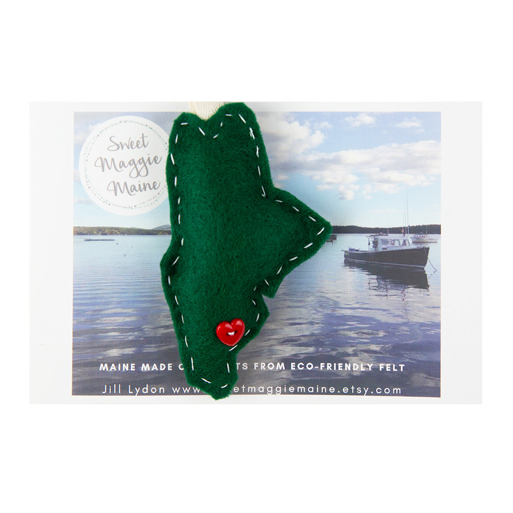 Sweet Maggie Maine Felt Ornament Maine Green