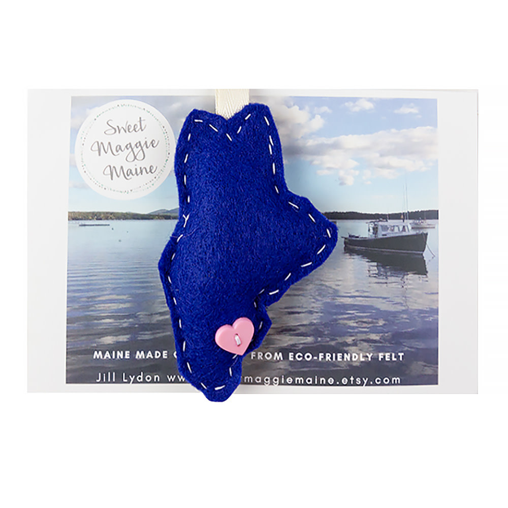 Sweet Maggie Maine Felt Ornament Maine Blue
