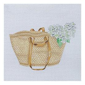 All About Stitching Sara Fitz Needlepoint Kit - Market Basket Tote