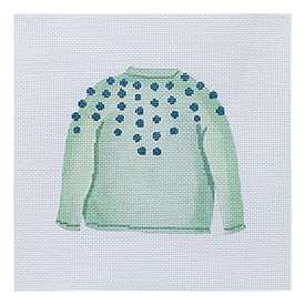 All About Stitching Sara Fitz Needlepoint Kit - Mint Pom Sweater