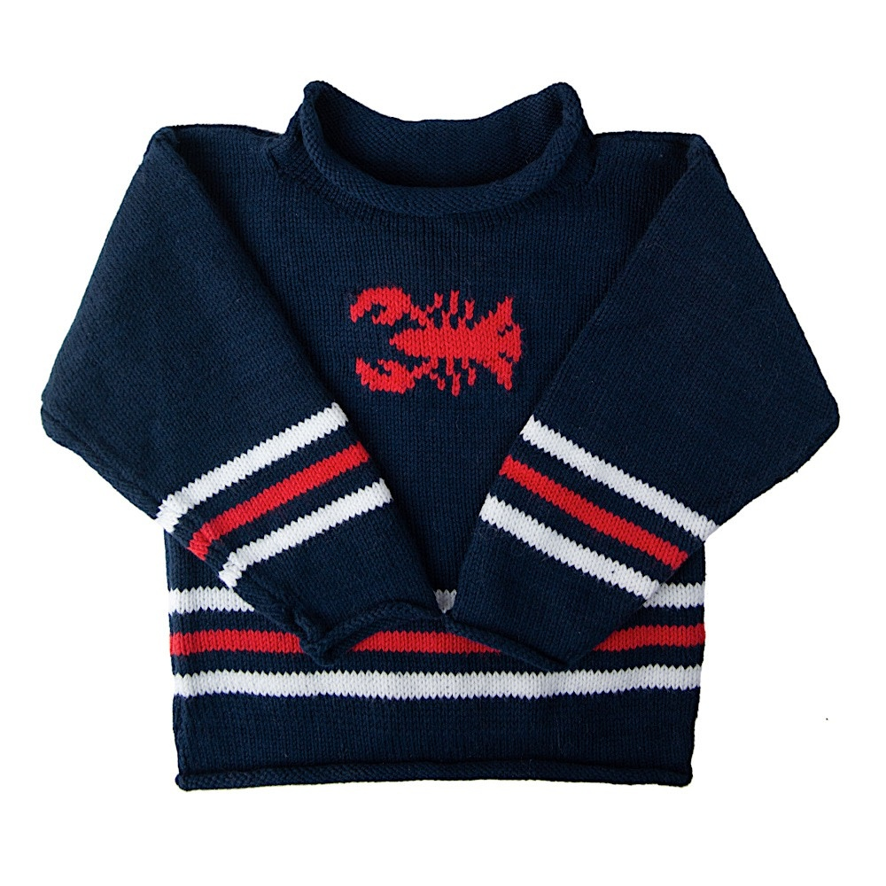 Baloo Baleerie Baby Sweater - Lobster - Navy/White/Red