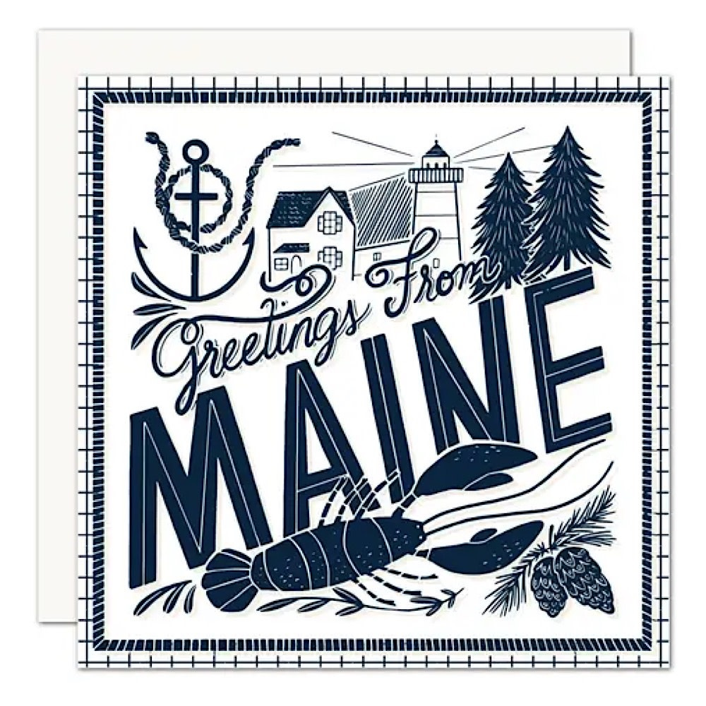 Olive & Company Card - Greetings From Maine Navy