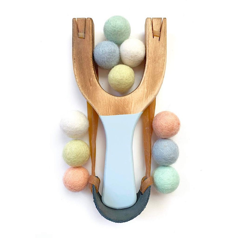 Little Lark Wooden Slingshot - Cloud Blue Handle with Pastel Rainbow Felt Balls