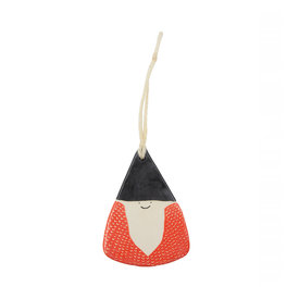 Kate Martens Ceramic Gnome Ornament - Stoneware Black Hat Red Coat