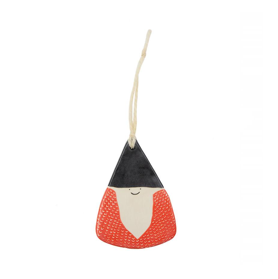 Ceramic Gnome Ornament - Stoneware Black Hat Red Coat