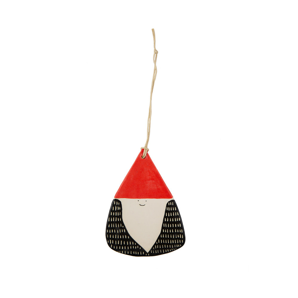 Ceramic Gnome Ornament - Stoneware Red Hat Black Coat