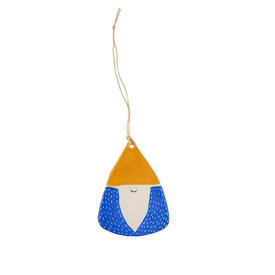 Kate Martens Kate Martens Ceramic Gnome Ornament - Stoneware Yellow Hat Blue Coat