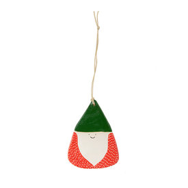 Kate Martens Kate Martens Ceramic Gnome Ornament - Stoneware Green/Red