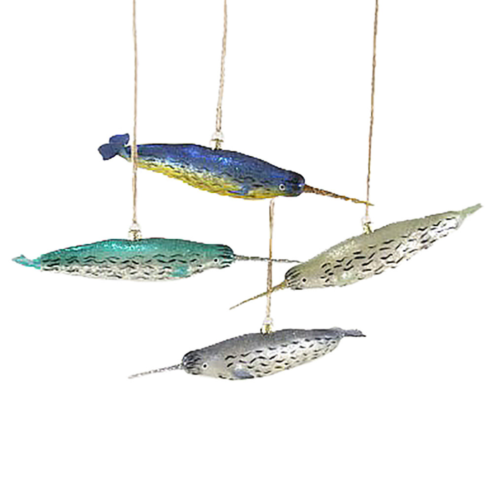 Cody Foster Ornament - Narwhal - Blue/Green
