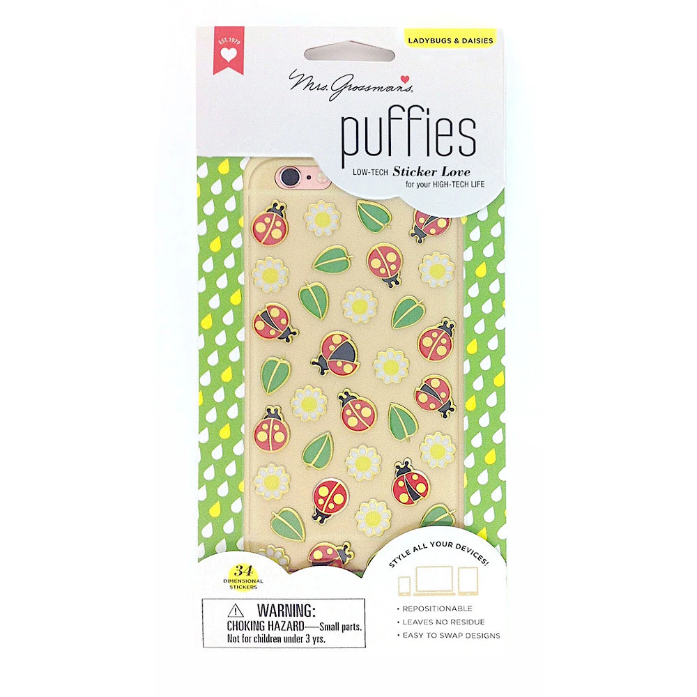 Mrs. Grossman's Mrs. Grossmans Stickers - Ladybugs and Daisies Puffies