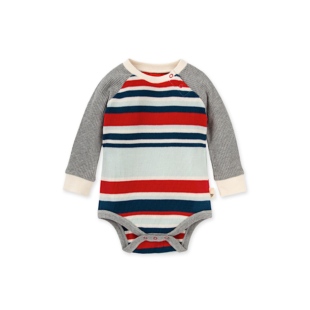 Burt's Bees Thermal Multi Stripe Bodysuit - Morning Mist