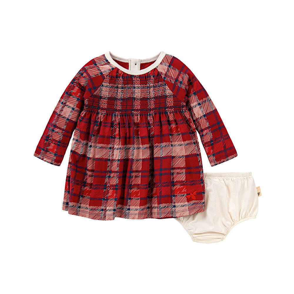 Burt's Bees Burt's Bees Plaid Dress & Diaper Cover - Cranberry