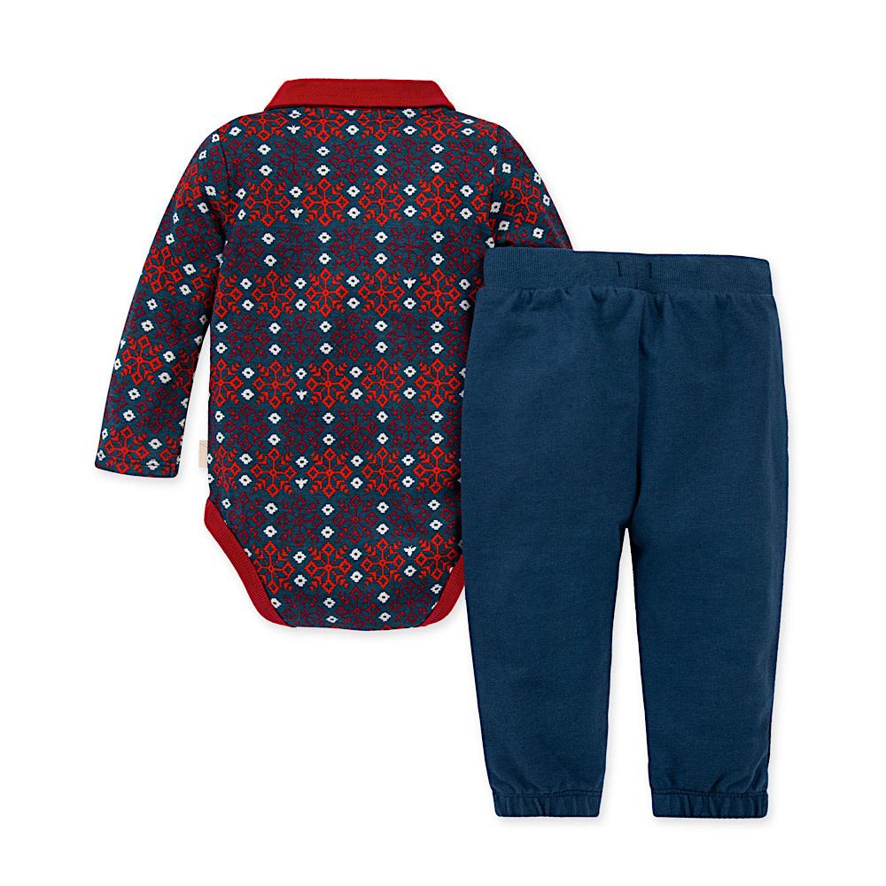 Burt's Bees Snowflake Bodysuit & Pant Set - Peacock