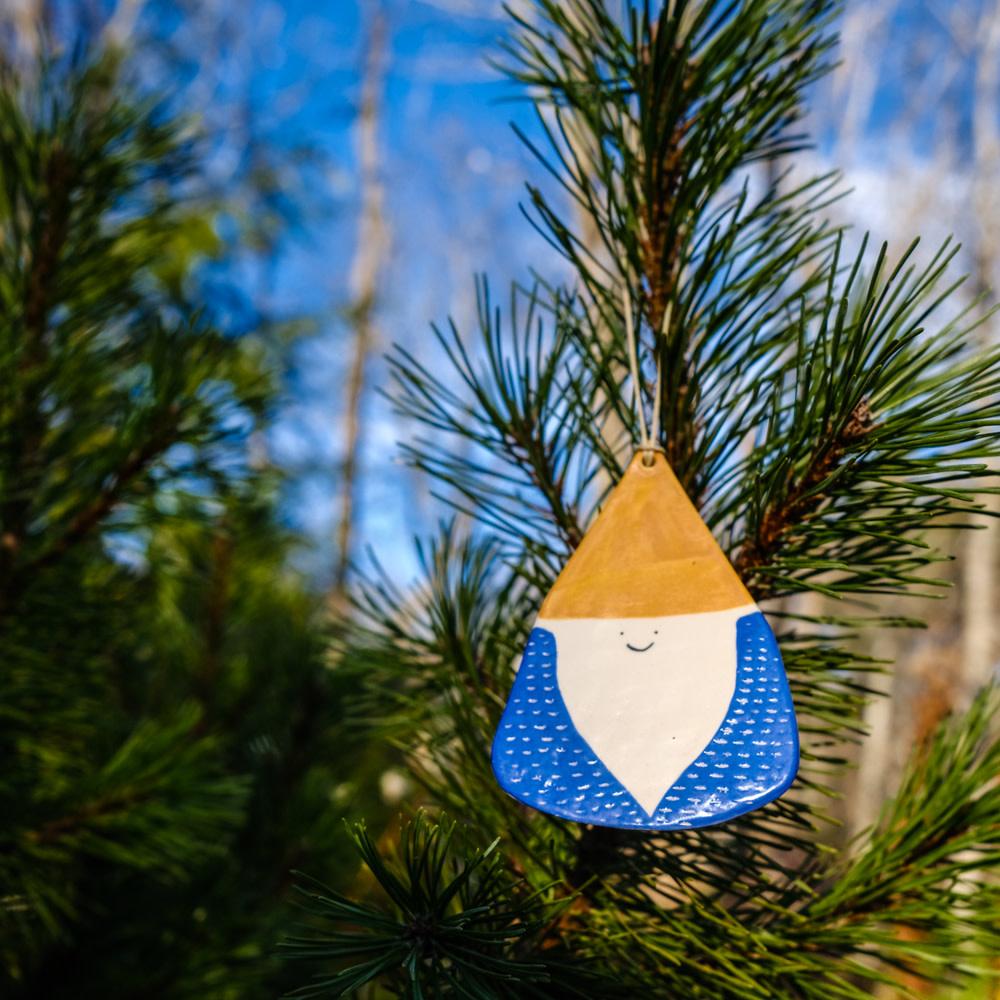 Ceramic Gnome Ornament - Stoneware Yellow Hat Blue Coat
