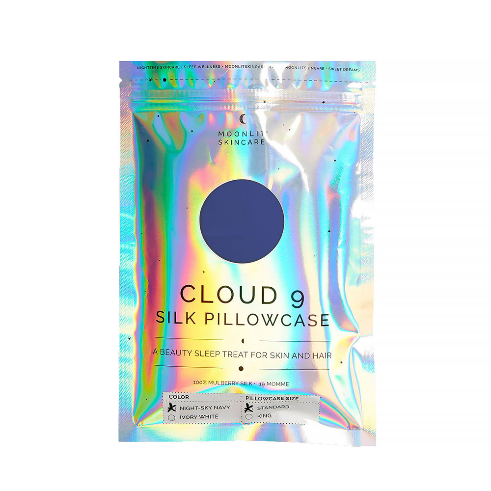 Moonlit Skincare Cloud 9 Silk Pillowcase - Standard - Night Sky Navy