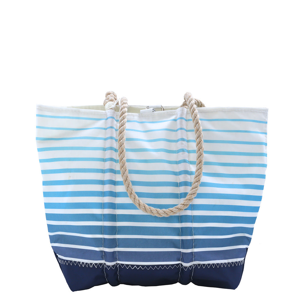 Sea Bags Sea Bags Custom Daytrip Society Ombre Stripe Tote - Hemp Handle White Whipping - Medium