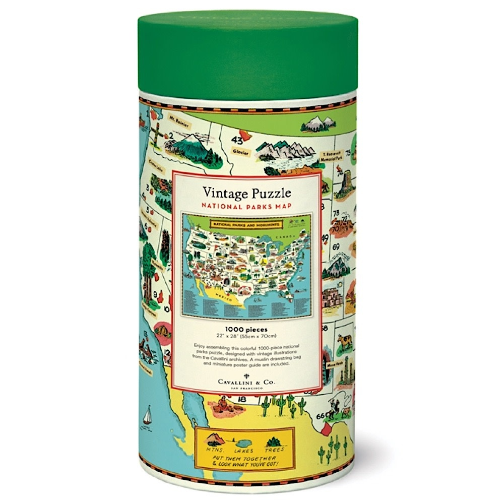 Cavallini Jigsaw Puzzle - National Parks Map - 1000 Pieces