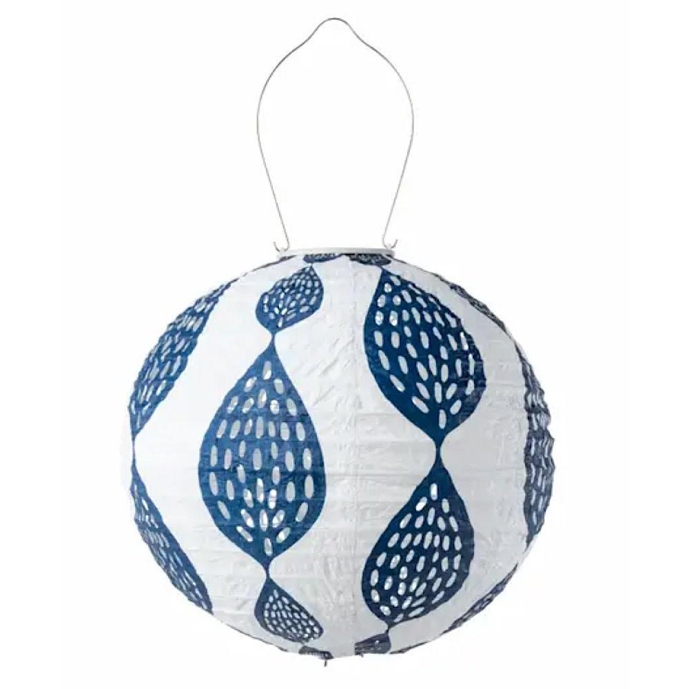 """Allsop Home & Garden 12"""" Round Print Punch Lantern - Indigo Leaf"""