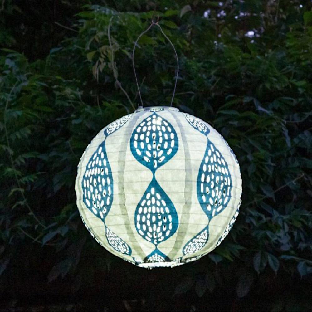 """12"""" Round Print Punch Lantern - Indigo Leaf"""
