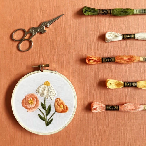 Embroidery Kit - Flower Trio for beginners