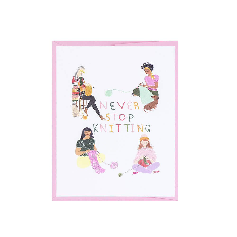 Loopy Mango Never Stop Knitting Card