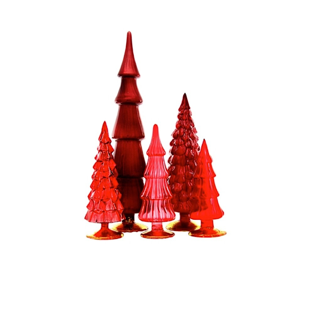Cody Foster & Co Glass Hue Trees - Red