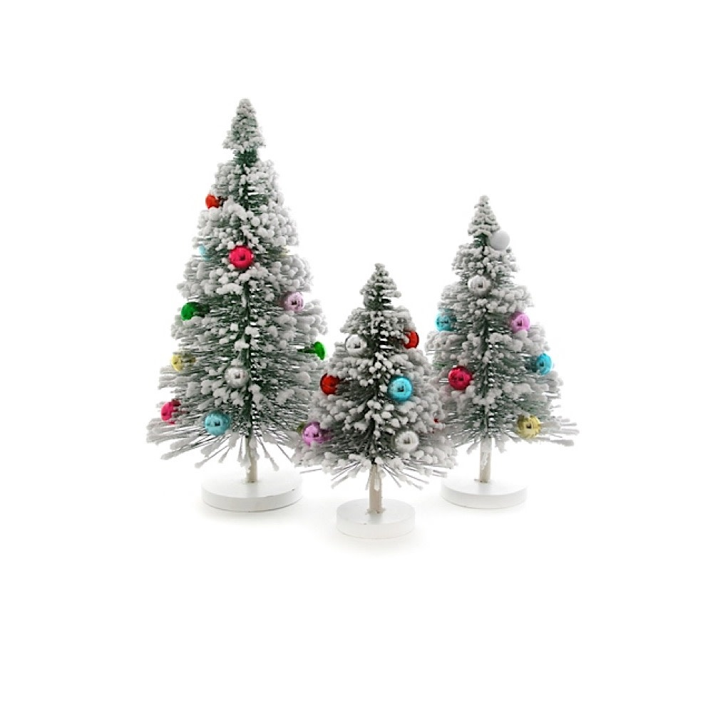 Cody Foster & Co Snow Forest Tree Set of 3 - Green
