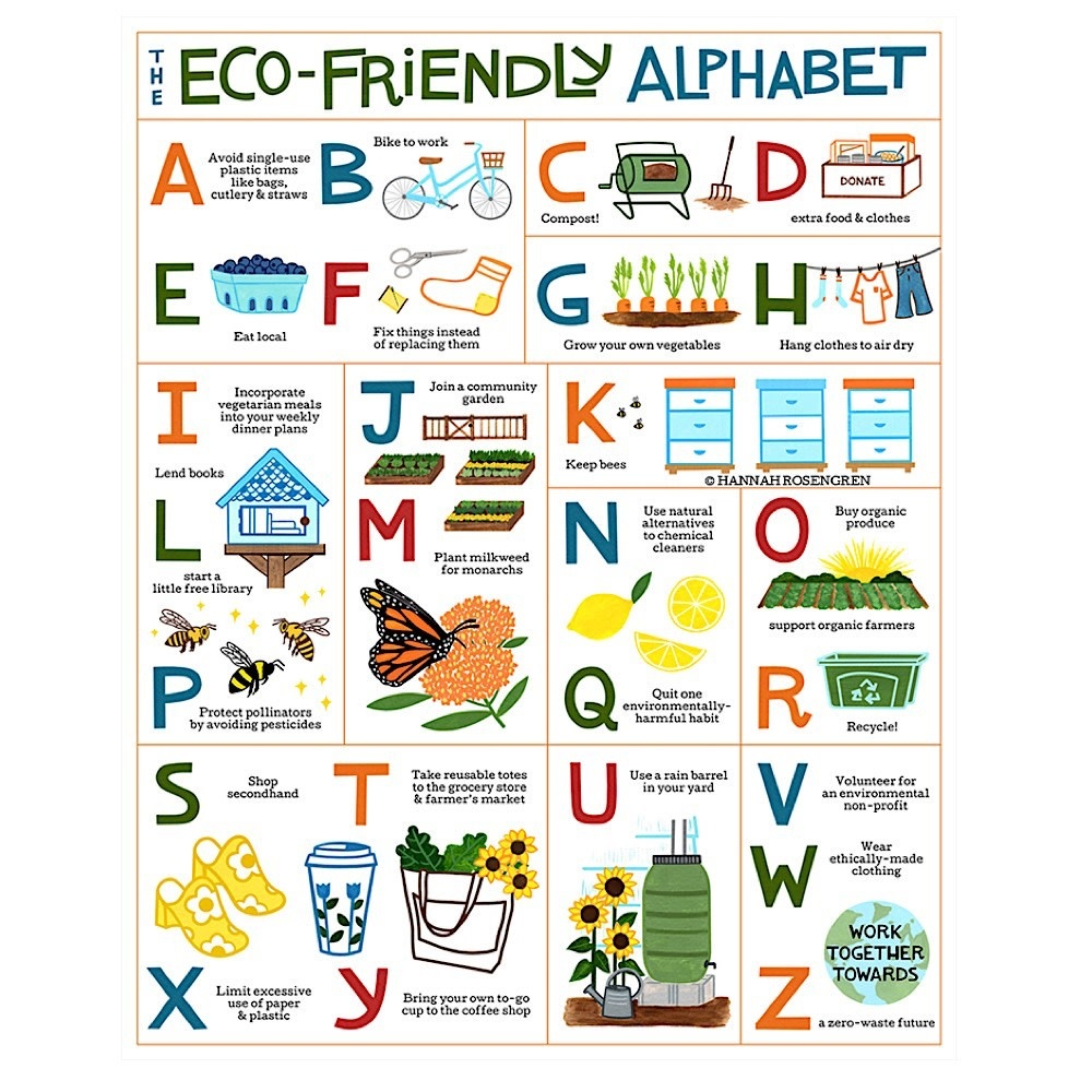 Hannah Rosengren Print - Eco Friendly ABC - 8x10