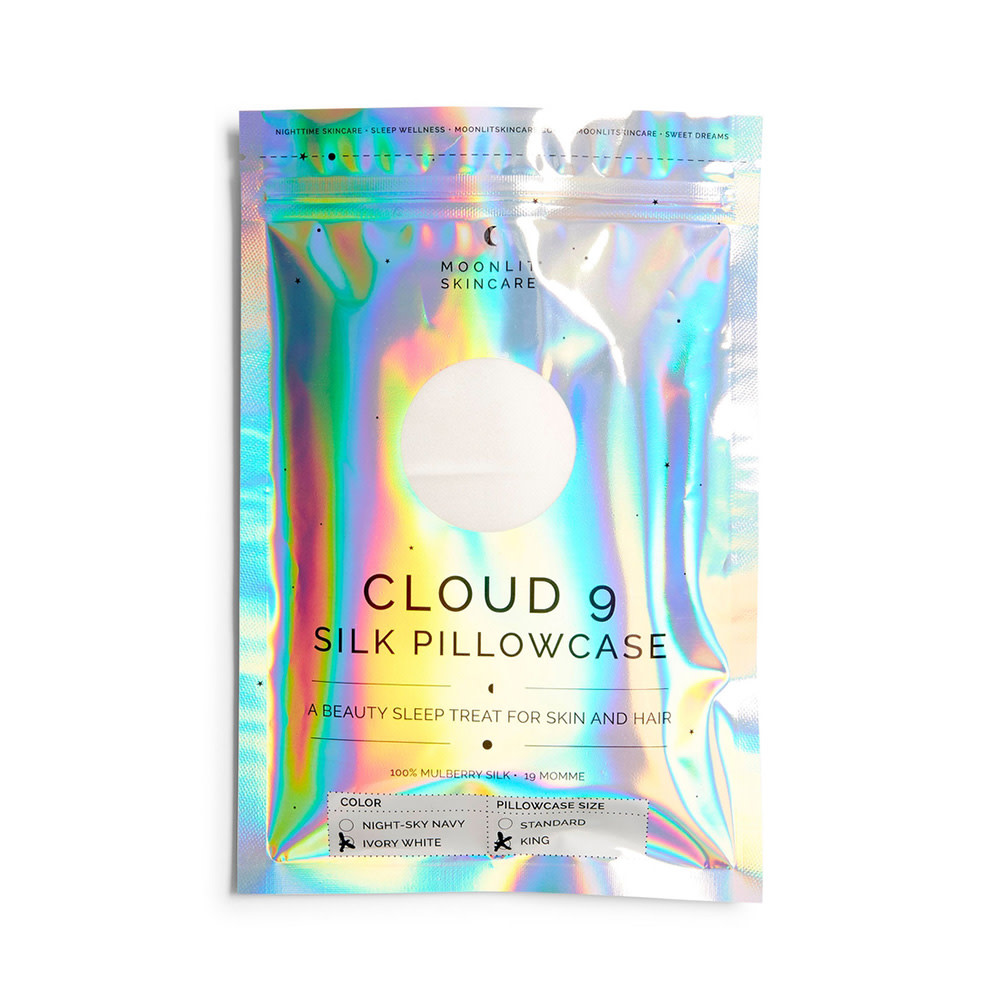 Moonlit Skincare Cloud 9 Silk Pillowcase - King - Ivory White