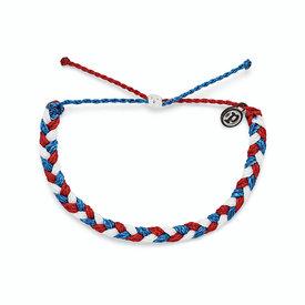 Pura Vida Pura Vida Braided Bracelet - Red White Blue