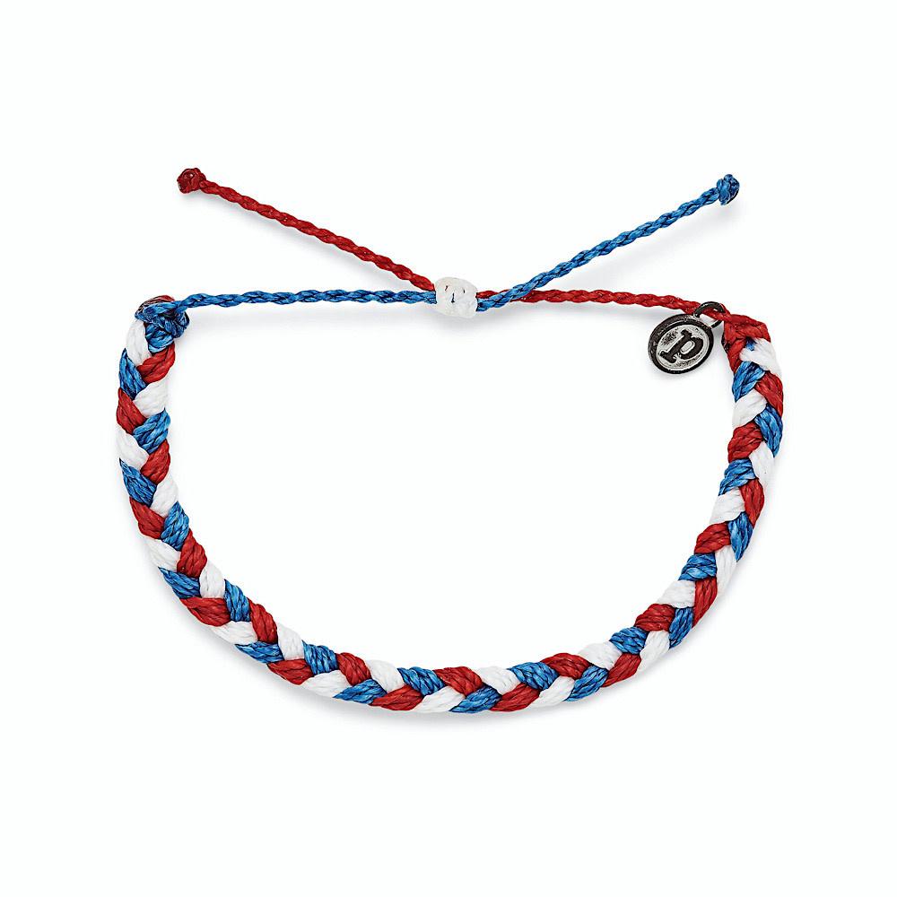 Pura Vida Braided Bracelet - Red White Blue