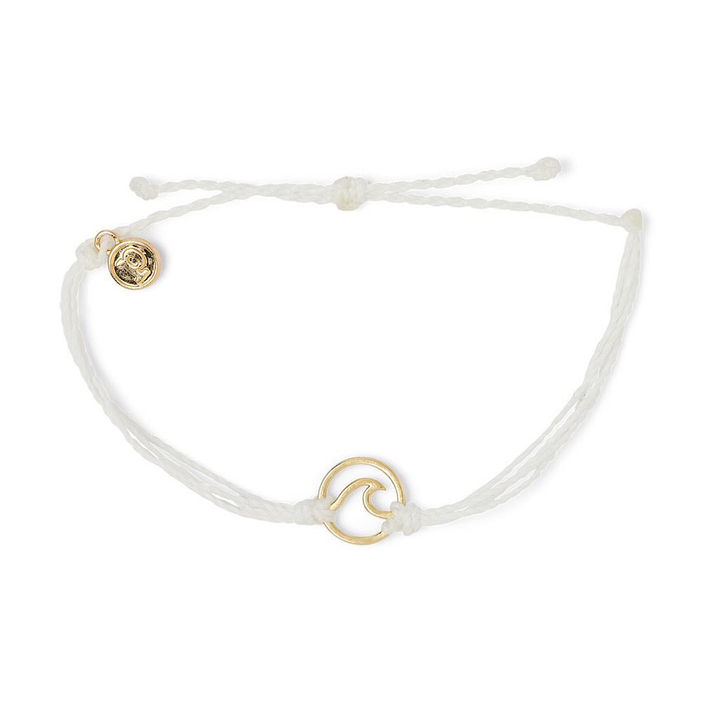 Pura Vida Wave Bracelet - Gold/White