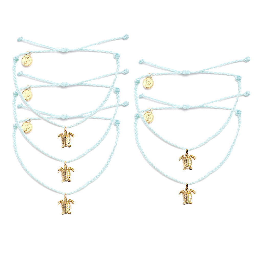 Pura Vida Bitty Charm Bracelet - Gold Turtle - Seafoam